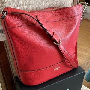 Coach Leather Paxton Duffle Crossbody Bag. Red